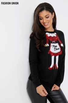 Fashion Union Christmas Miss Claus Jumper