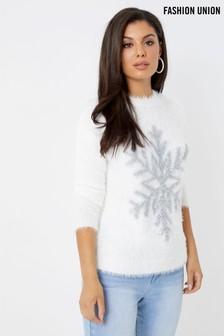 Pulover Fashion Union cu model Crăciun fulg de zăpadă