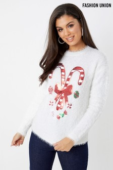 Fashion Union Candy Cane Jumper