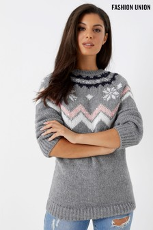 Fashion Union Fairisle Neckline Christmas Jumper