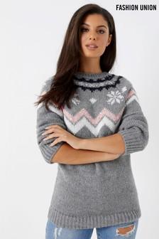 Pulover Fashion Union cu model Crăciun
