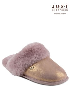 Just Sheepskin Sparkle Cuff Slippers