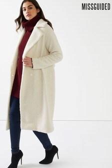 Missguided Teddy Longline Coat