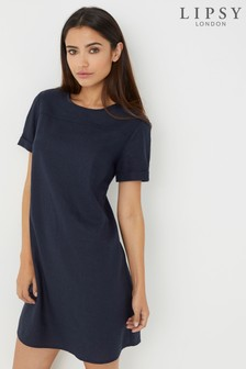 Lipsy Linen Cap Sleeve Shift Dress