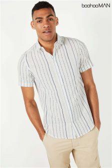 Boohoo Man Stripe Print Shirt