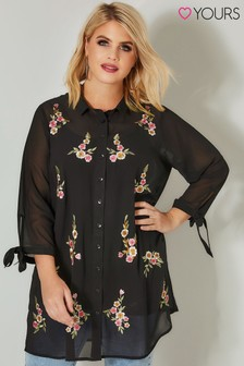 Yours Floral Embroidered Shirt