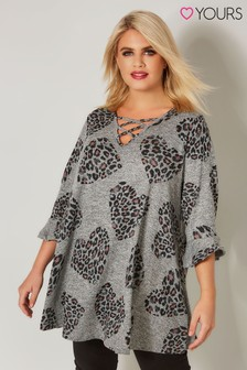 Yours Frill Sleeve Animal Heart Jumper
