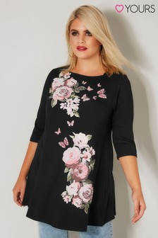 Yours Placement Floral Print Top