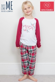 Minijammies Holly 'Tis The Season字样印花睡衣套装