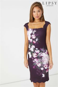 Lipsy Tori Print Scallop Neck Bodycon Dress