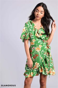 Glamorous Floral Print Mini Wrap Dress