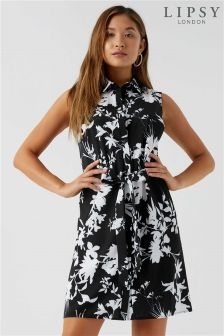 Lipsy Sleeveless Floral Shirt Dress