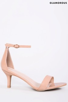 Glamorous Wide Fit Kitten Heel Patent Sandals