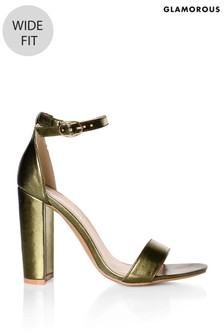 Glamorous Wide Fit Metallic Block Heel Sandals