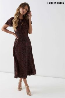 Fashion Union Animal Print Shift Midi Dress
