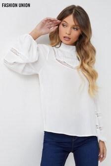 Fashion Union Pleat Lace Insert Blouse