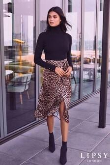 Jupe croisée mi-longue Lipsy en satin imprimé léopard