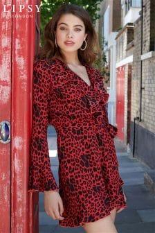 Lipsy Leopard Print Ruffle Dress 477b1464c
