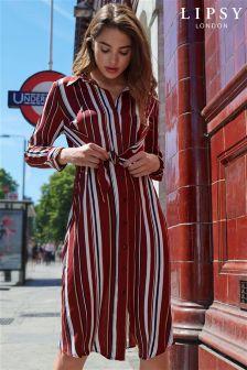 Lipsy Stripe Knot Front Midi Shirt Dress