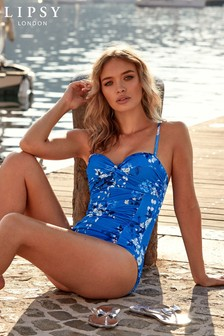 Lipsy Shape Enhancing Floral Print Swimsuit