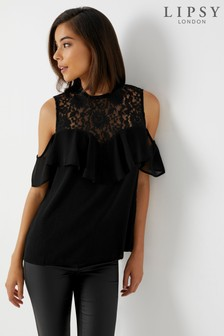 Lipsy Lace Insert Ruffle Cold Shoulder Top