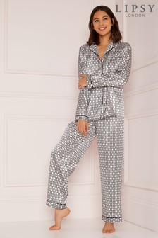 Lipsy Monogramed Shirt And Trouser Satin Pyjama Set