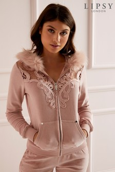 Lipsy Faux Fur Trim Velour Hoody