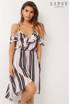 Lipsy Stripe Cold Shoulder Ruffle Dress