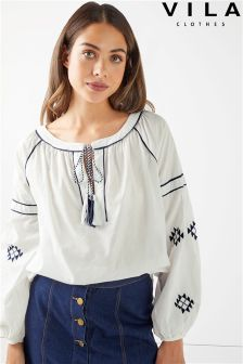 Vila Embroidered Tassel  Top