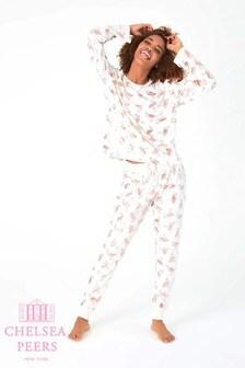 Chelsea Peers Pyjamaset mit Flamingo-Folienmotiv