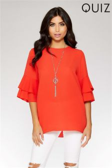 Quiz Double Frill Sleeve Necklace Top