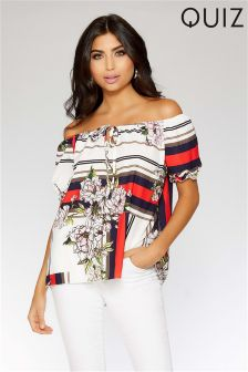 Quiz Floral and Stripe Print Bardot Top