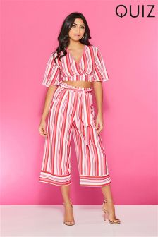 Quiz Stripe Tie Belt Culottes