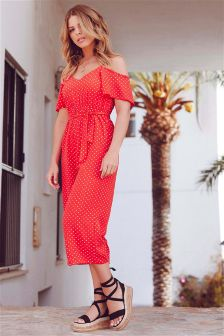 Quiz Polka Dot Cold Shoulder Jumpsuit