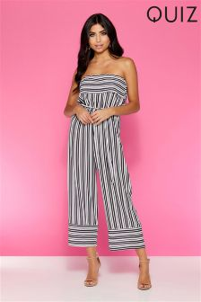 Quiz Strapless Stripe Culotte Jumpsuit