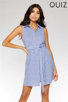 Quiz Stripe Sleeveless Shirt Dress