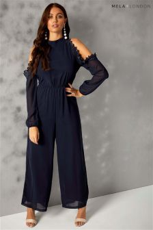 Mela London Beaded Cold Shoulder Jumpsuit
