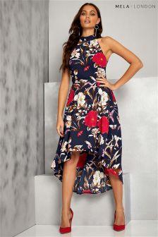 Sukienka Mela London z kwiatowym nadrukiem i asymetrycznym dolem