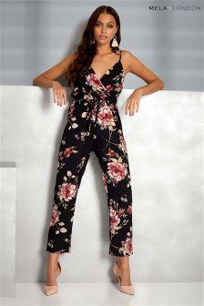 Mela London Floral Print Wrap Front Jumpsuit