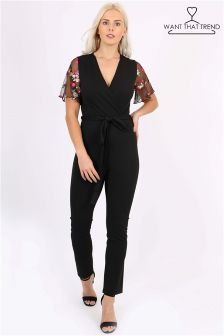 Want That Trend Floral Sleeve Jumpsuit