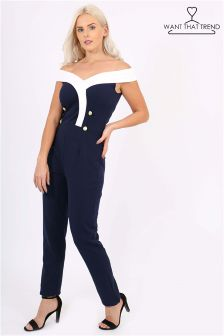 Want That Trend Bardot Button Detail Jumpsuit