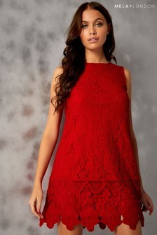 Mela London Sleeveless Lace Border Dress