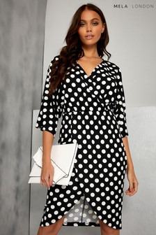 Mela London Wrap Over Sized Polka Dots Dress