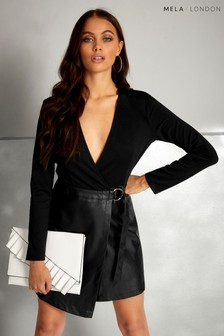 Mela London Leather Contrast Dress