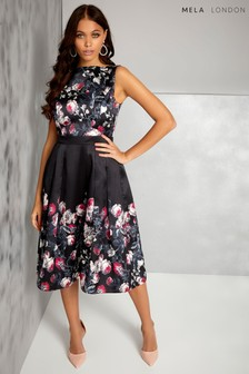 Mela London Floral Pleated Prom Dress
