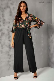Mela London Fluted Sleeve Wrap Jumpsuit