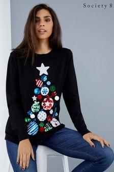 Society 8 Weihnachtlicher Pullover mit Paillettenbaum