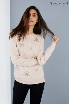 Society 8 Snowflake Scatter Christmas Jumper