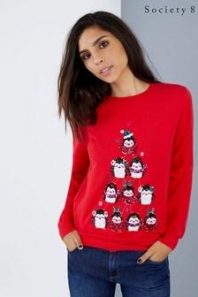 Рождественский джемпер с изображением пингвинов Society