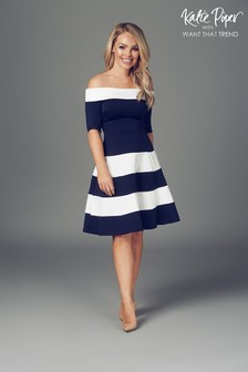 Want That Trend Nautical Panelled Off Shoulder Skater Dress